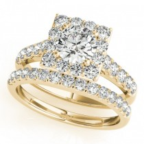 Diamond Halo Square Shape Border Bridal Set 14k Yellow Gold (3.28ct)