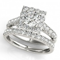 Diamond Halo Square Shape Border Bridal Set 18k White Gold (3.28ct)