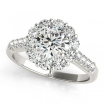 Floral Halo Round Diamond Engagement Ring 18k White Gold (1.82ct)