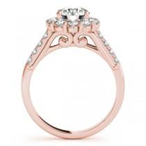 Floral Halo Round Diamond Bridal Set 14k Rose Gold (2.12ct)