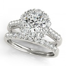 Floral Halo Round Diamond Bridal Set 14k White Gold (2.12ct)