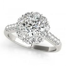 Floral Halo Round Diamond Bridal Set 14k White Gold (2.12ct)