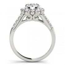 Floral Halo Round Diamond Bridal Set 18k White Gold (2.12ct)