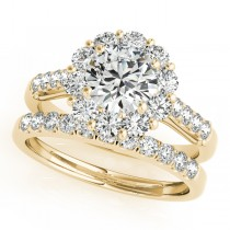 Floral Halo Round Diamond Bridal Set 18k Yellow Gold (2.12ct)