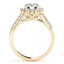 Floral Halo Round Diamond Bridal Set 18k Yellow Gold (2.12ct)