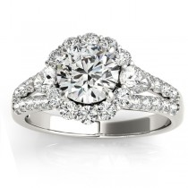 Diamond Halo w/ Pear Accent Engagement Ring 14k White Gold 0.91ct