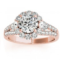Diamond Halo w/ Pear Accent Engagement Ring 18k Rose Gold 0.91ct