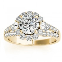 Diamond Halo w/ Pear Accent Engagement Ring 18k Yellow Gold 0.91ct