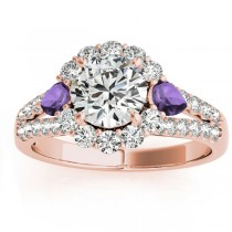 Diamond Halo w/ Amethyst Pear Ring 14k Rose Gold 0.91ct