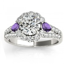 Diamond Halo w/ Amethyst Pear Ring 14k White Gold 0.91ct