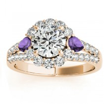 Diamond Halo w/ Amethyst Pear Ring 18k Yellow Gold 0.91ct