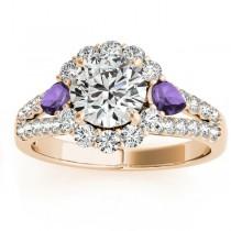 Diamond Halo w/ Amethyst Pear Ring 18k Yellow Gold 0.91ct