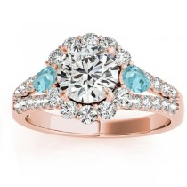 Diamond Halo w/ Aquamarine Pear Ring 14k Rose Gold 0.91ct