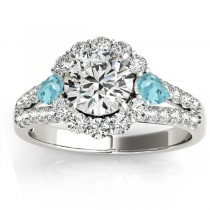 Diamond Halo w/ Aquamarine Pear Ring 14k White Gold 0.91ct