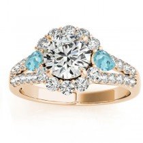 Diamond Halo w/ Aquamarine Pear Ring 14k Yellow Gold 0.91ct