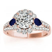 Diamond Halo w/ Blue Sapphire Pear Ring 14k Rose Gold 0.91ct