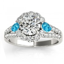 Diamond Halo w/ Blue Topaz Pear Ring 14k White Gold 0.91ct