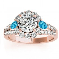 Diamond Halo w/ Blue Topaz Pear Ring 18k Rose Gold 0.91ct