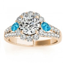 Diamond Halo w/ Blue Topaz Pear Ring 18k Yellow Gold 0.91ct