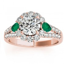 Diamond Halo w/ Emerald Pear Ring 14k Rose Gold 0.91ct