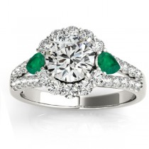 Diamond Halo w/ Emerald Pear Ring 14k White Gold 0.91ct