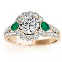 Diamond Halo w/ Emerald Pear Ring 18k Yellow Gold 0.91ct