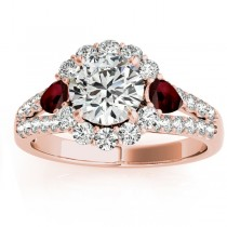 Diamond Halo w/ Garnet Pear Ring 18k Rose Gold 0.91ct