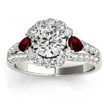 Diamond Halo w/ Garnet Pear Ring 18k White Gold 0.91ct