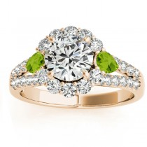 Diamond Halo w/ Peridot Pear Ring 14k Yellow Gold 0.91ct
