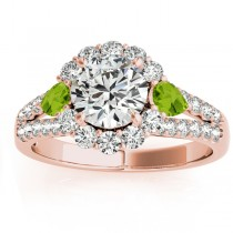 Diamond Halo w/ Peridot Pear Ring 18k Rose Gold 0.91ct