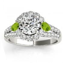 Diamond Halo w/ Peridot Pear Ring Platinum 0.91ct