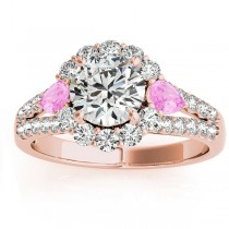 Diamond Halo w/ Pink Sapphire Pear Ring 14k Rose Gold 0.91ct