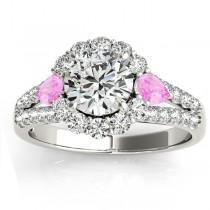 Diamond Halo w/ Pink Sapphire Pear Ring 14k White Gold 0.91ct