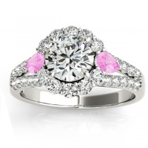 Diamond Halo w/ Pink Sapphire Pear Ring 18k White Gold 0.91ct