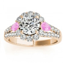Diamond Halo w/ Pink Sapphire Pear Ring 18k Yellow Gold 0.91ct