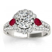 Diamond Halo w/ Ruby Pear Ring 18k White Gold 0.91ct