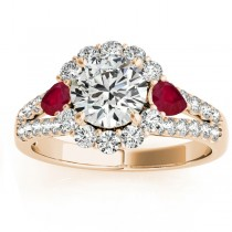 Diamond Halo w/ Ruby Pear Ring 18k Yellow Gold 0.91ct