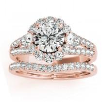 Diamond Halo w/ Pear Sidestone Bridal Set 14k Rose Gold 1.17ct