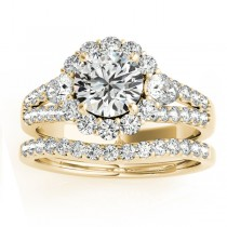 Diamond Halo w/ Pear Sidestone Bridal Set 14k Yellow Gold 1.17ct