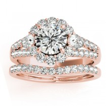 Diamond Halo w/ Marquise Sidestone Bridal Set 18k Rose Gold 1.17ct