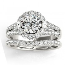 Diamond Halo w/ Pear Sidestone Bridal Set 18k White Gold 1.17ct