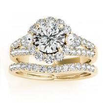 Diamond Halo w/ Pear Sidestone Bridal Set 18k Yellow Gold1.17ct
