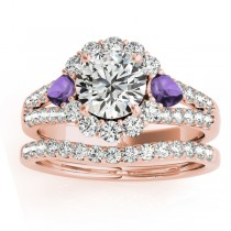 Diamond Halo w/ Amethyst Pear Bridal Set 14k Rose Gold 1.17ct