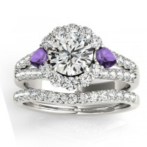Diamond Halo w/ Amethyst Pear Bridal Set 14k White Gold 1.17ct