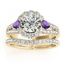 Diamond Halo w/ Amethyst Pear Bridal Set 18k Yellow Gold 1.17ct