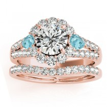 Diamond Halo w/ Aquamarine Pear Bridal Set 14k Rose Gold 1.17ct