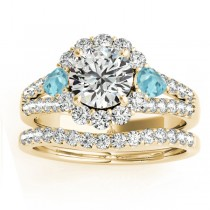 Diamond Halo w/ Aquamarine Pear Bridal Set 14k Yellow Gold 1.17ct