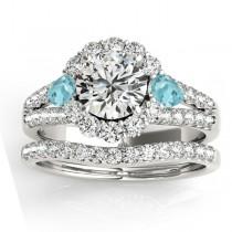 Diamond Halo w/ Aquamarine Pear Bridal Set 18k White Gold 1.17ct