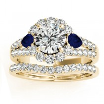 Diamond Halo w/ Blue Sapphire Pear Set 14k Yellow Gold 1.17ct