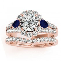 Diamond Halo w/ Blue Sapphire Pear Bridal Set 18k Rose Gold 1.17ct